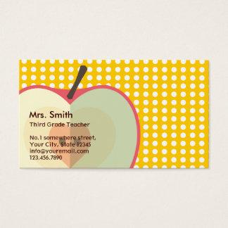 Yellow Polka Dots Elementary Teacher Business Card