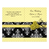 yellow polka dots floral book fold Wedding program