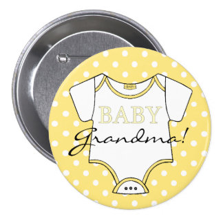 Yellow Polka Dots I'm The Grandma! 3 Inch Round Button