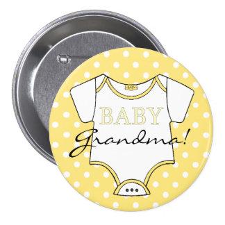 Yellow Polka Dots I'm The Grandma! Pinback Button