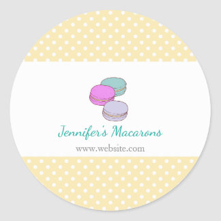 Yellow Polka Dots Macaron Rectangle Product Label Classic Round Sticker