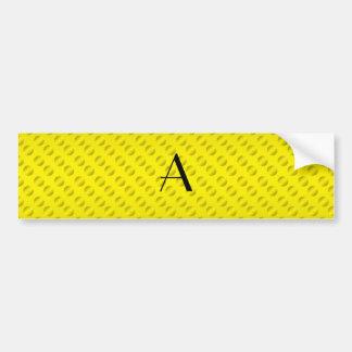 Yellow polka dots monogram bumper sticker