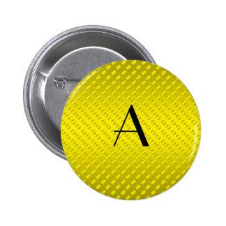 Yellow polka dots monogram 2 inch round button