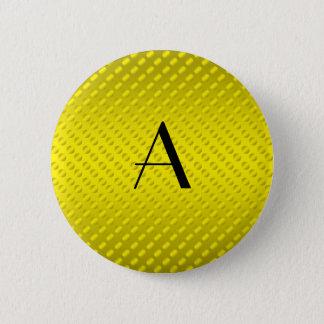Yellow polka dots monogram pinback button