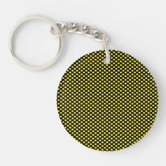 Yellow Polka Dots on Black Double-Sided Round Acrylic Keychain
