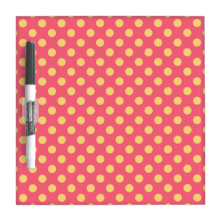 Yellow polka dots on coral dry erase board