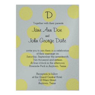 Yellow Polka Dots on Gray Wedding Invitation