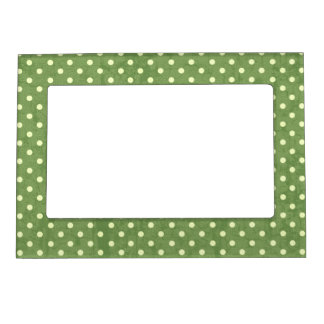 Yellow Polka Dots on Green Grunge Magnetic Photo Frame