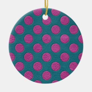 Yellow Polka Dots on Turquoise Leather Print Ceramic Ornament