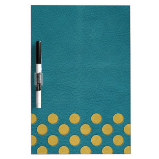 Yellow Polka Dots on Turquoise Leather Texture Dry-Erase Board