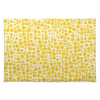 Yellow Polka Dots on White Background Cloth Place Mat