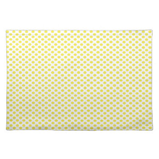Yellow Polka Dots on White Cloth Placemat