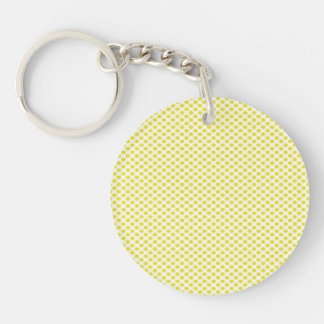 Yellow Polka Dots on White Double-Sided Round Acrylic Keychain
