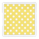 Yellow Polka Dots Pattern Acrylic Tray