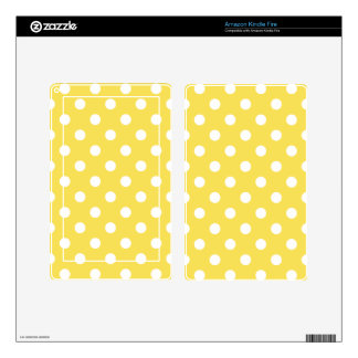 Yellow Polka Dots Pattern Decals For Kindle Fire