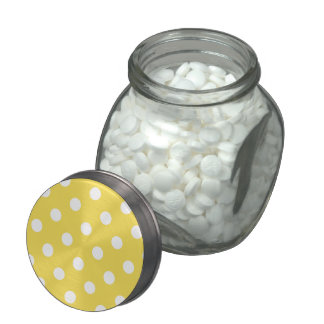 Yellow Polka Dots Pattern Glass Jar