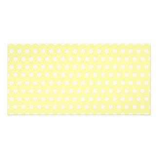 Yellow polka dots pattern. Spotty. Card