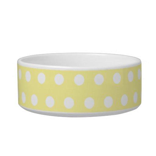 Yellow polka dots pattern. Spotty. Cat Food Bowl