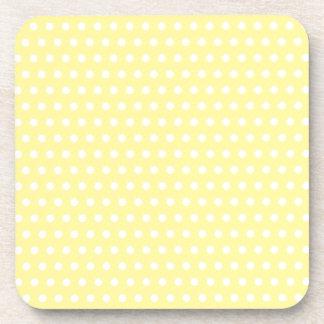 Yellow polka dots pattern. Spotty. Beverage Coaster