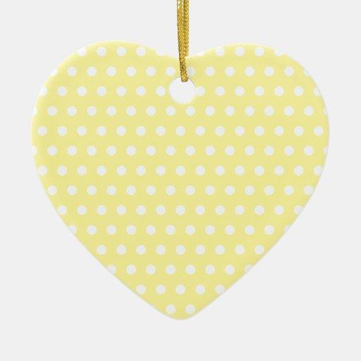 Yellow polka dots pattern. Spotty. Christmas Tree Ornaments