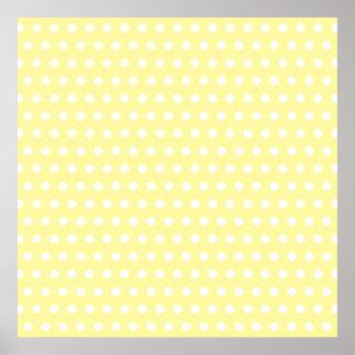Yellow polka dots pattern. Spotty. Posters