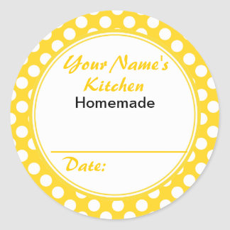 Yellow Polka Dots Personalized Canning Jar Lid Classic Round Sticker