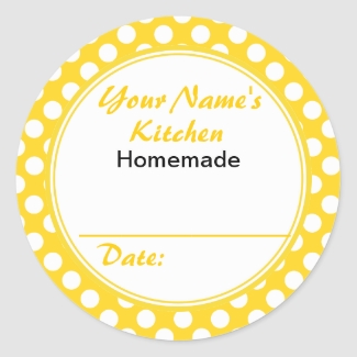 Yellow Polka Dots Personalized Canning Jar Lid