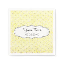 yellow polka dots personalized wedding napkins