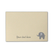 Yellow polka dots post it notes with grey elephant