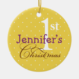 Yellow polka dots purple name baby first holiday ceramic ornament