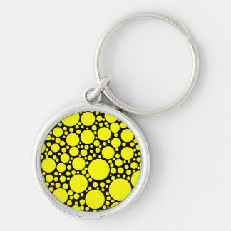 Yellow Polka Dots Silver-Colored Round Keychain