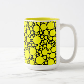 Yellow Polka Dots Two-Tone Coffee Mug