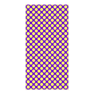 Yellow Polka Dots With Purple Background Card