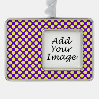 Yellow Polka Dots With Purple Background Christmas Ornament