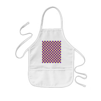 Yellow Polka Dots With Purple Background Kids' Apron