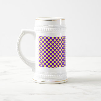 Yellow Polka Dots With Purple Background 18 Oz Beer Stein