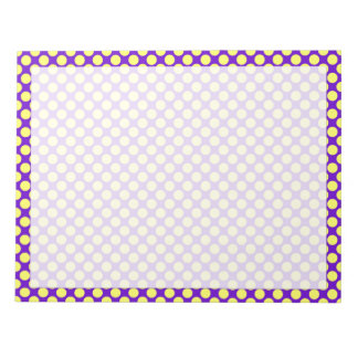 Yellow Polka Dots With Purple Background Notepad