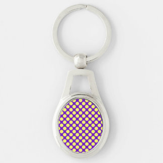 Yellow Polka Dots With Purple Background Silver-Colored Oval Metal Keychain
