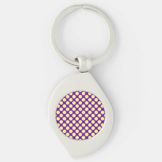 Yellow Polka Dots With Purple Background Silver-Colored Swirl Metal Keychain