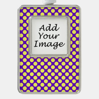 Yellow Polka Dots With Purple Background Silver Plated Framed Ornament