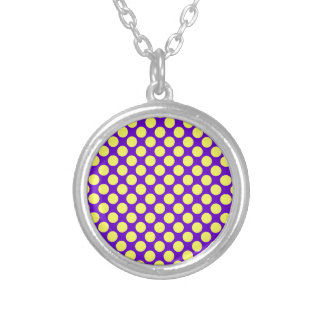 Yellow Polka Dots with Purple Background STaylor Silver Plated Necklace