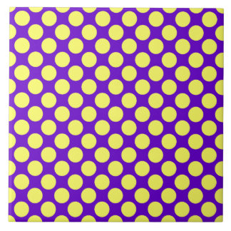 Yellow Polka Dots With Purple Background Large Square Tile
