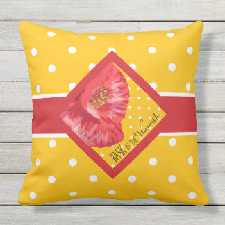 Yellow Polka Dots with Red Poppy Garden Outdoor Pillow