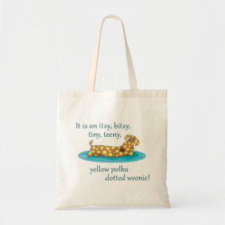 Yellow polka dotted wienie tote bag