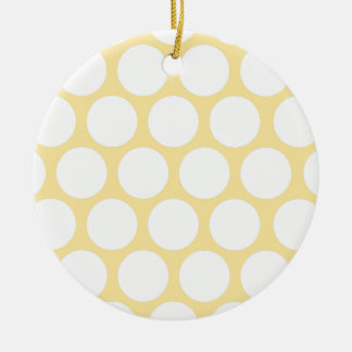 Yellow polka doty ceramic ornament