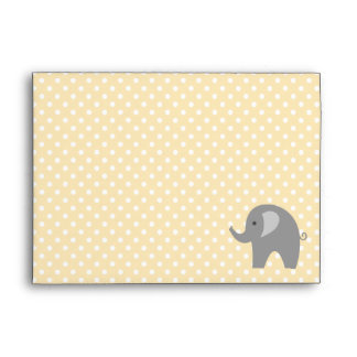 Yellow polkadot grey elephant baby shower envelope