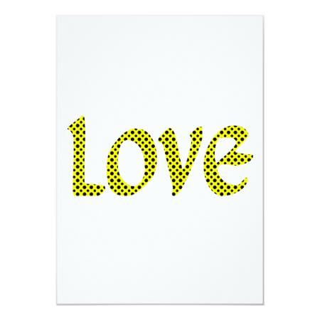 Yellow Polkadot Love 5x7 Paper Invitation Card