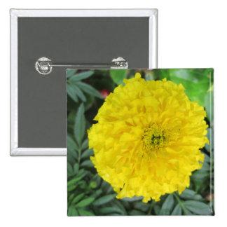Yellow Pompom Marigold Pinback Button