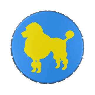 Yellow poodle silhouette jelly belly tins