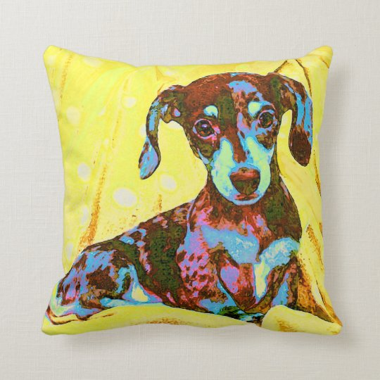 yellow pop art dachshund throw pillow